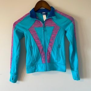 Ivivva stretchy zip up sweater Blue with pink features size 6